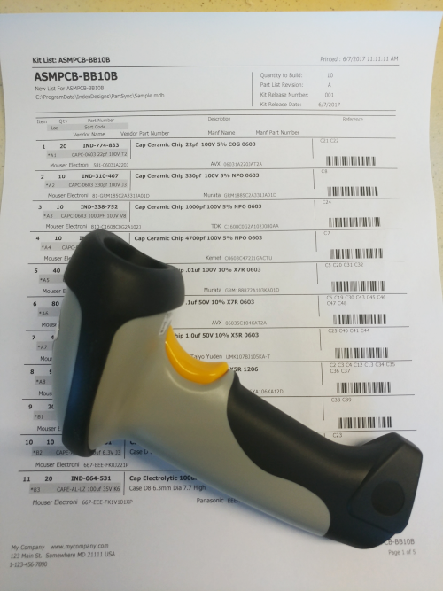 wi-fi and wire friendly scanner to be used with barcodes labels for finding parts in the database and in storage